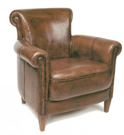 Hand Painted Leather Oxford Chair - $798